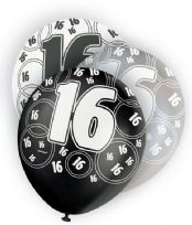 Black Glitz Age 16 Latex Balloons (6)
